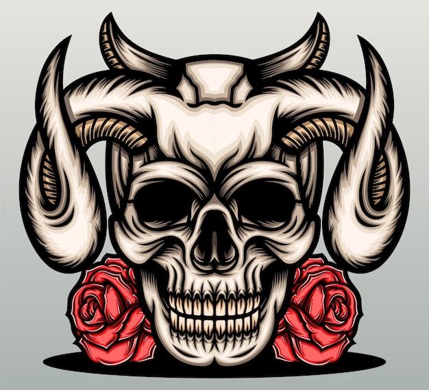 Crânio do diabo com rosa vermelha. Vetor Premium