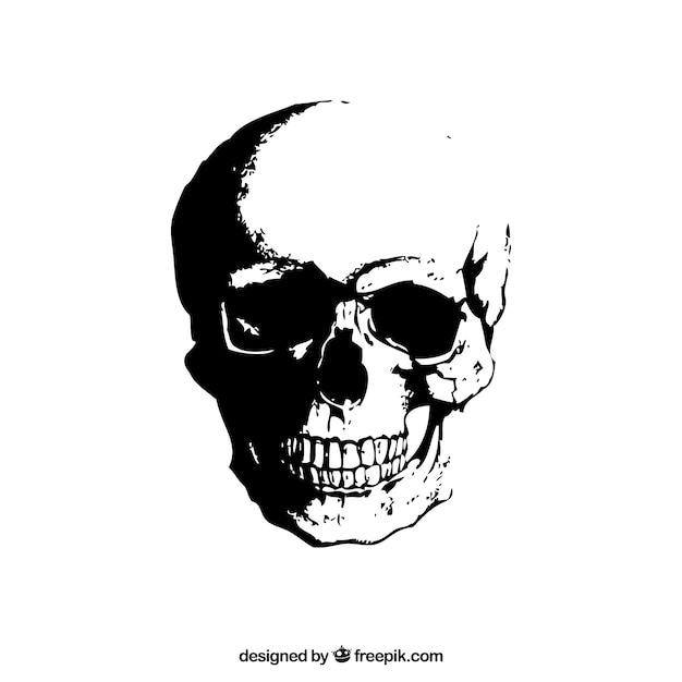 Crânio do grunge Vetor Premium