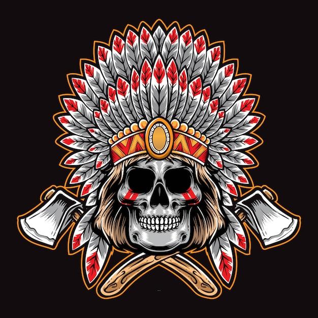 Crânio do nativo americano com machado Vetor Premium