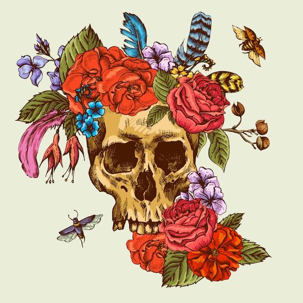 Crânio e flores dia dos mortos Vetor Premium