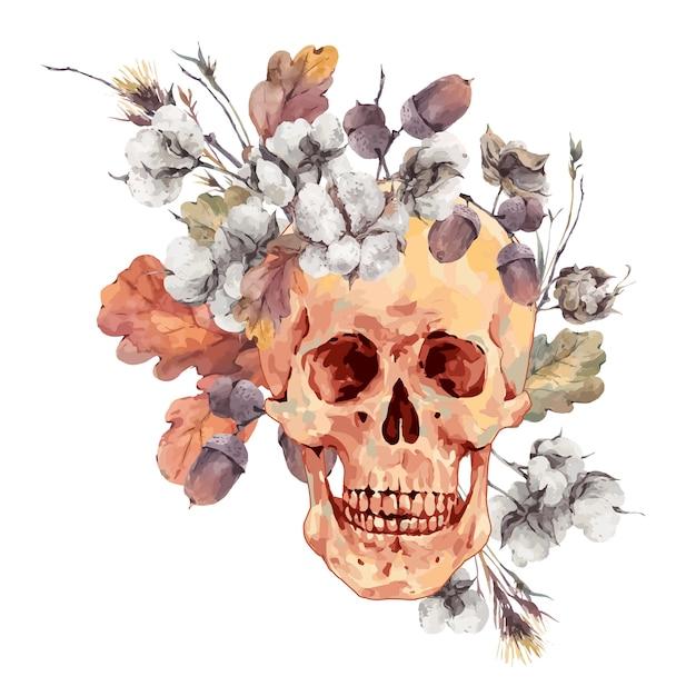 Crânio e galhos, flor de algodão, folhas de carvalho amarelo Vetor Premium