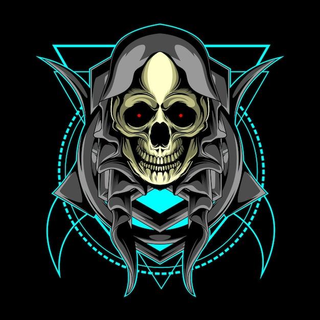 Crânio e geometria sagrada Vetor Premium