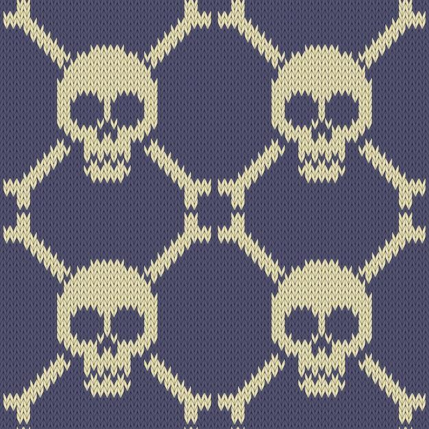 Crânio e ossos padrão de lã sem costura de malha Vetor Premium