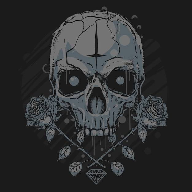 Crânio e rosa diamante de arte Vetor Premium