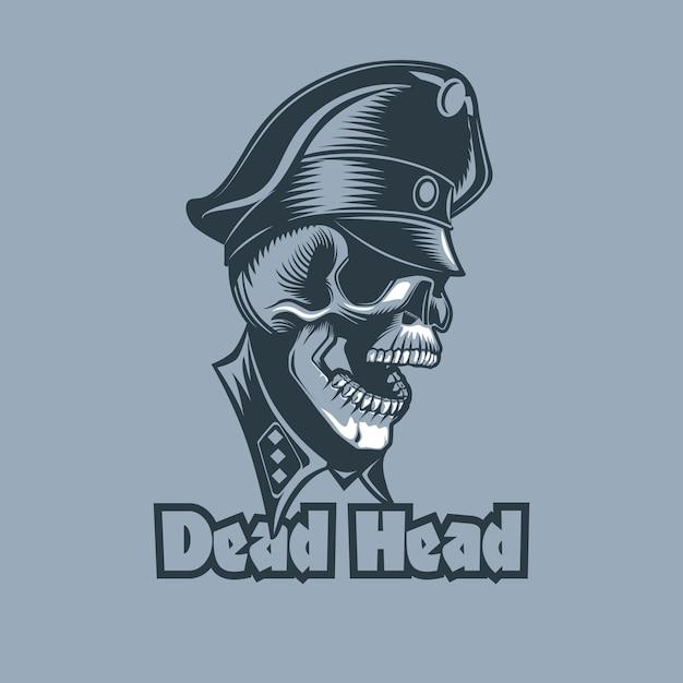 Crânio em uniformes com a inscrição cabeça morta Vetor Premium