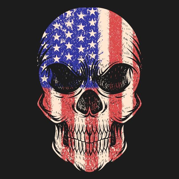 Crânio eua bandeira ilustração vetorial Vetor Premium