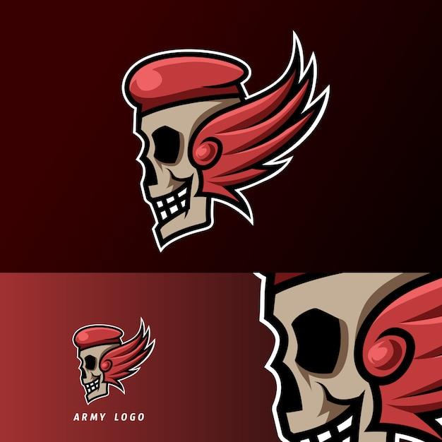 Crânio exército chapéu asas mascote esporte jogos esport logotipo modelo para streamer squad team club Vetor Premium
