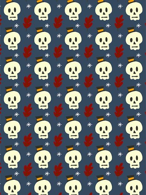 Crânio feliz no escuro padrão sem emenda Vetor Premium