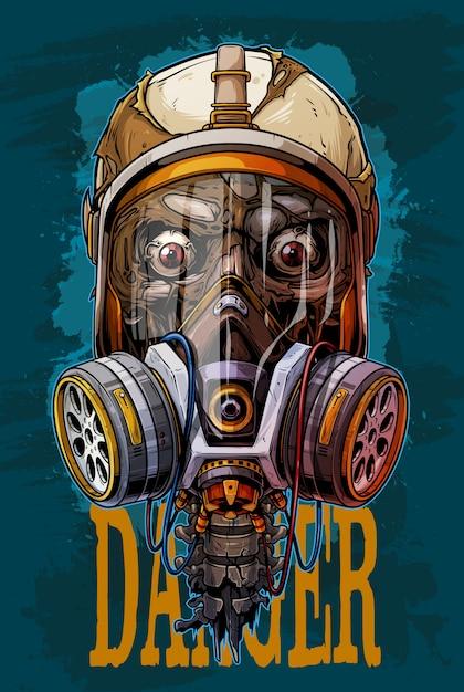 Crânio humano colorido detalhado com máscara de gás Vetor Premium