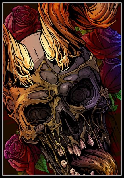Crânio humano colorido gráfico com chifres de touro Vetor Premium