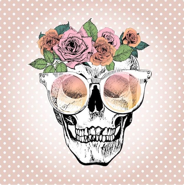 Crânio humano de vetor com coroa floral e óculos de sol. Vetor Premium