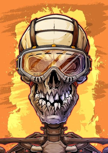 Crânio humano detalhado com óculos de proteção Vetor Premium