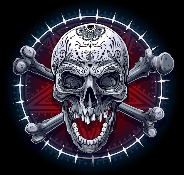 Crânio humano gráfico com estrela pentagrama Vetor Premium