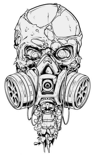 Crânio humano gráfico detalhado com máscara de gás Vetor Premium