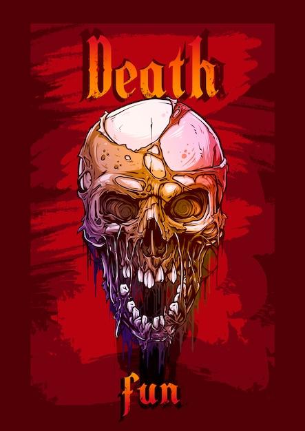 Crânio humano gráfico detalhado sobre fundo vermelho Vetor Premium
