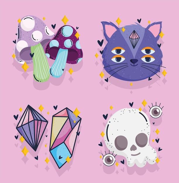 Crânio mágico de gato de cristal e mistério assustador desenho da fortuna Vetor Premium