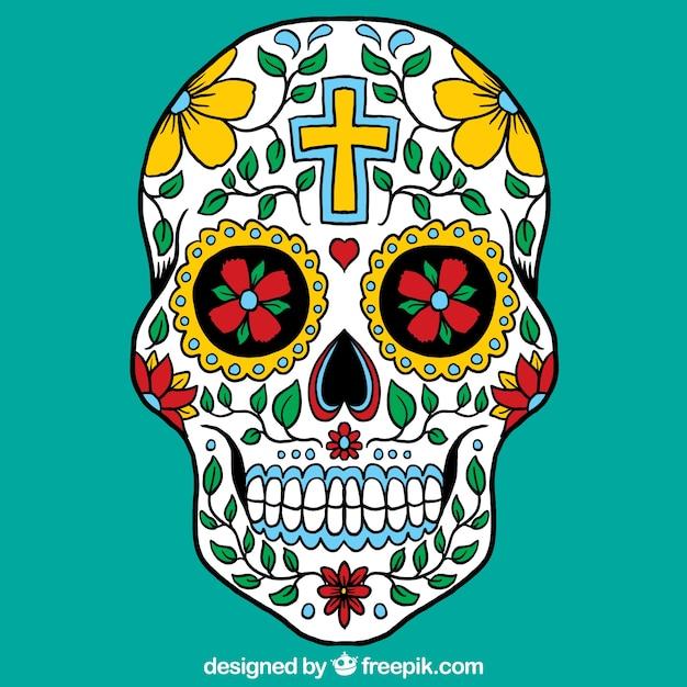 Crânio mexicano colorido Vetor grátis