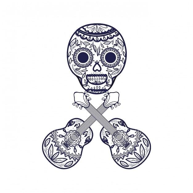 Crânio mexicano com ícone de guitarra Vetor Premium
