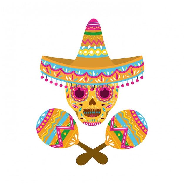 Crânio mexicano com ícone isolado de maraca Vetor Premium