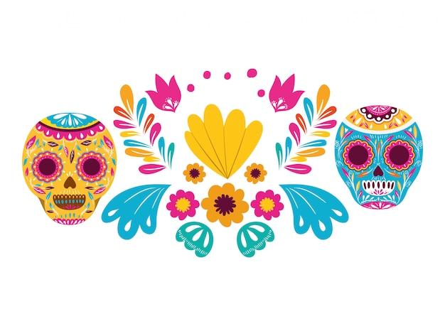 Crânio mexicano ícone isolado Vetor Premium