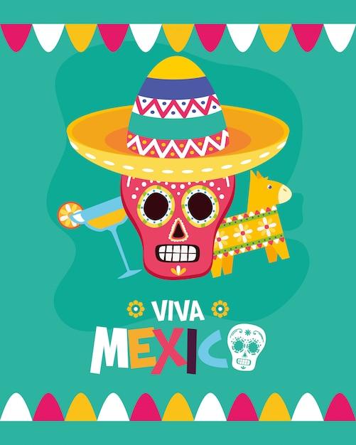 Crânio mexicano, pinata e coquetel Vetor grátis