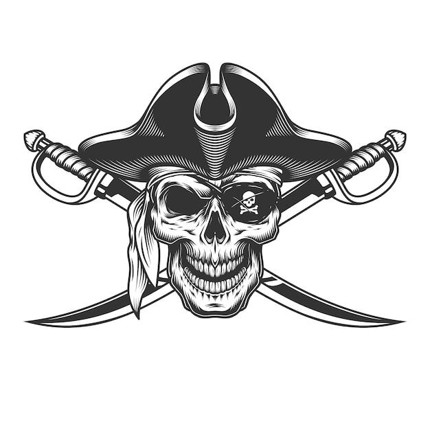 Crânio monocromático vintage no chapéu de pirata Vetor grátis
