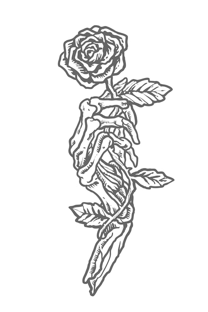 Crânio monocromático vintage segurando flor Vetor Premium