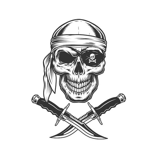 Crânio na bandana e tapa-olho Vetor grátis