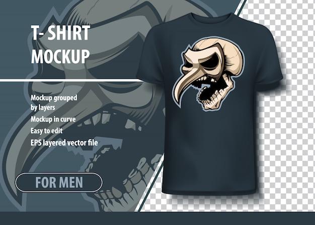 Crânio na máscara teatral, modelo de modelo para impressão. vetor de layout como uma oferta de impressão em t-shirts. Vetor Premium