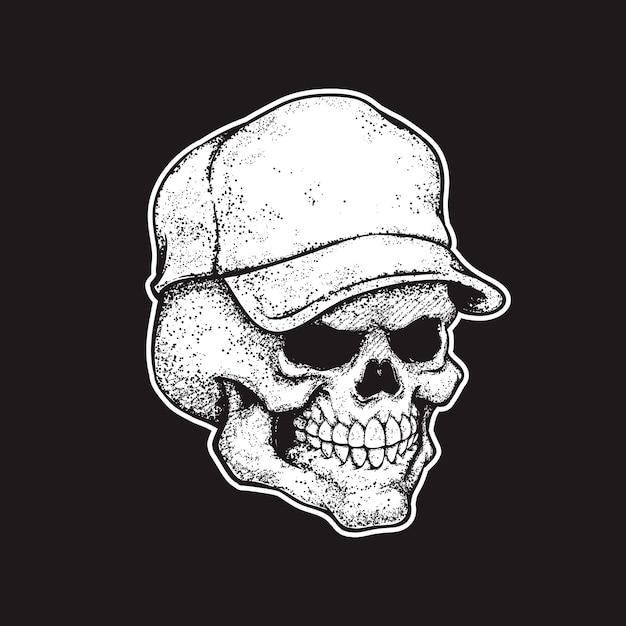 Crânio no boné Vetor Premium