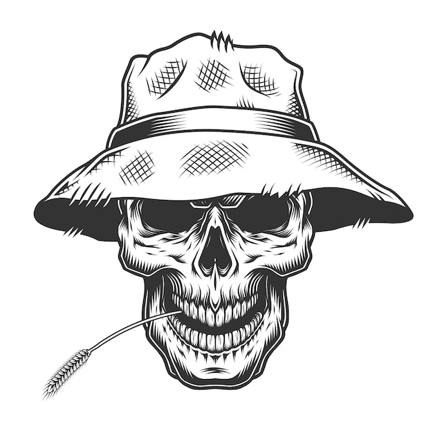 Crânio no chapéu de palha Vetor grátis