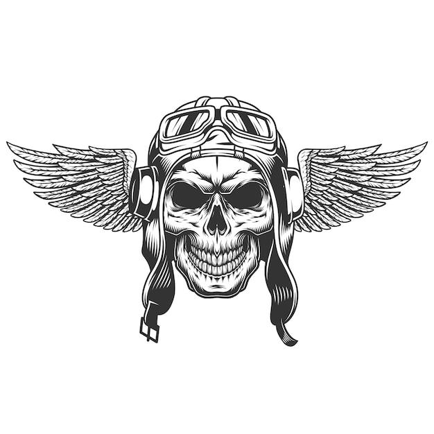 Crânio piloto alado monocromático vintage Vetor grátis