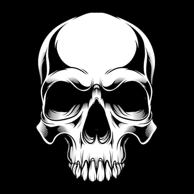 Crânio preto e branco Vetor Premium