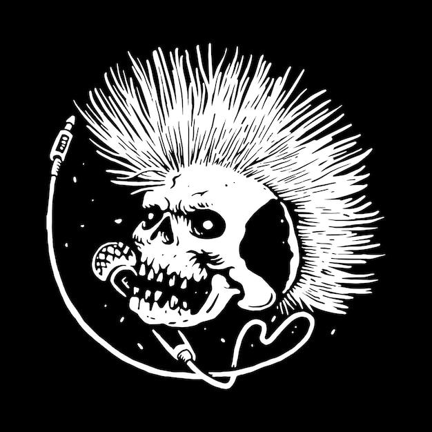 Crânio punk música linha ilustração gráfica arte vetorial design de t-shirt Vetor Premium