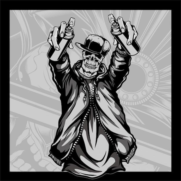 Crânio que desgasta um chapéu que prende o crânio da pintura à pistola que desgasta um chapéu que prende a pintura à pistola Vetor Premium