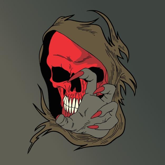 Crânio rosto vermelho Vetor Premium
