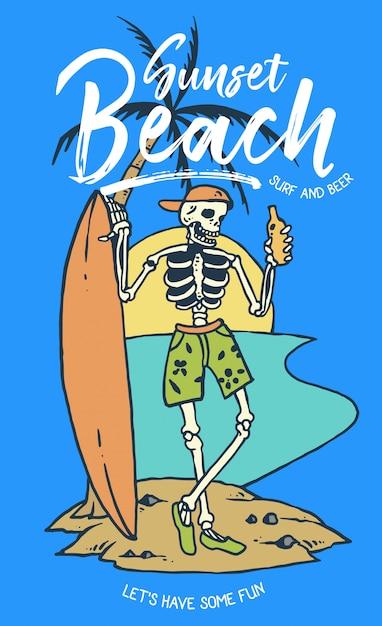 Crânio segurando cerveja e prancha de surf Vetor Premium