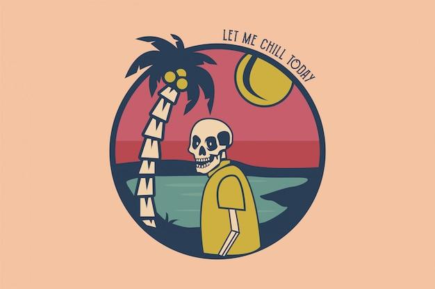 Crânio tropical com ilustração vetorial de coqueiros Vetor Premium