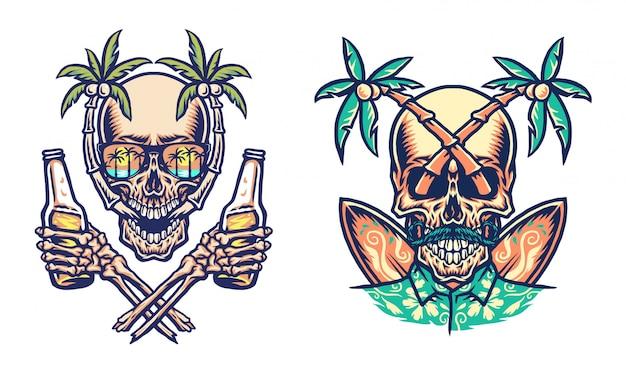 Crânio verão praia t-shirt design gráfico, linha de mão desenhada com cor digital, ilustração Vetor Premium
