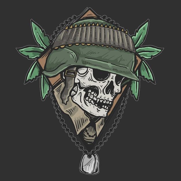 Crânio veterano exército zumbi soldado Vetor Premium