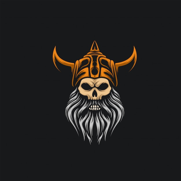 Crânio viking logotipo ilustration Vetor Premium