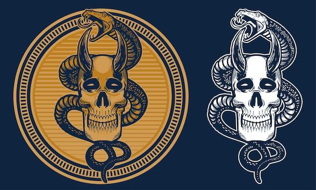 Crânio vintage e cobra em ilustração de fundo de linha circular Vetor Premium