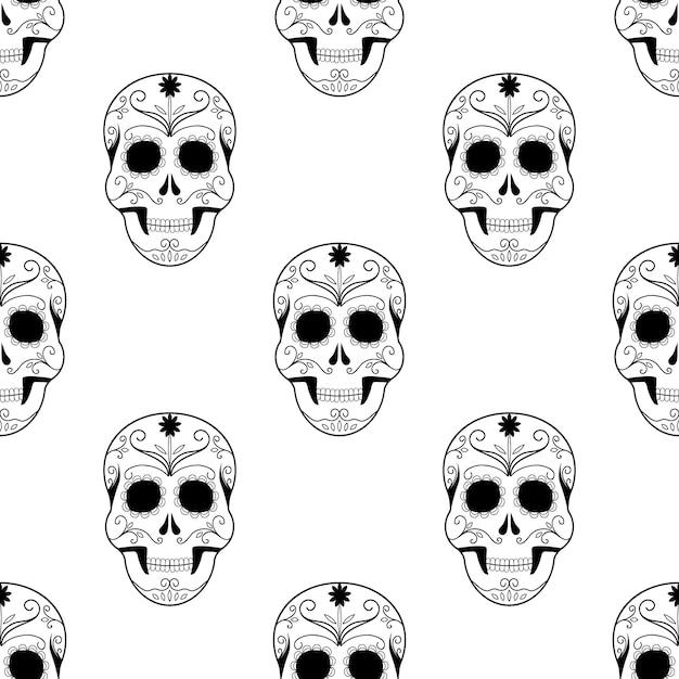 Crânios assustadores do teste padrão sem emenda de halloween. Vetor Premium