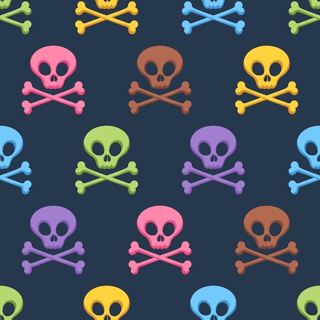 Crânios coloridos bonitos e padrão sem emenda de ossos cruzados. Vetor Premium