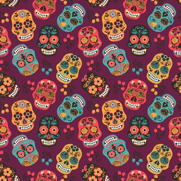 Crânios coloridos de açúcar mexicano. padrão sem costura. Vetor Premium