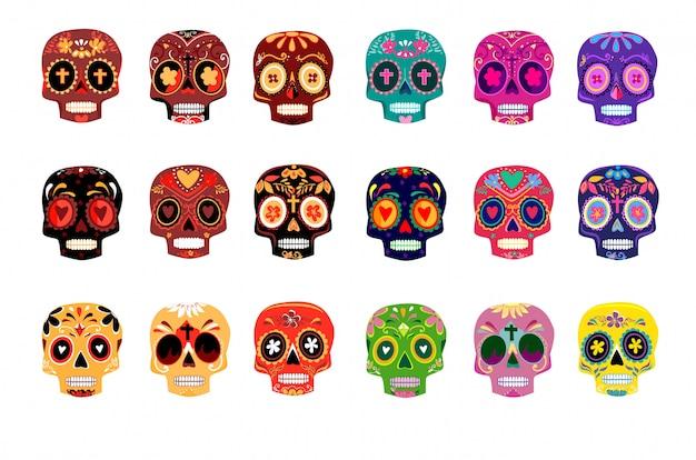 Crânios coloridos decorativos definir o dia dos mortos Vetor Premium