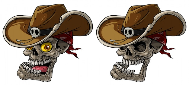 Crânios de cowboy dos desenhos animados com chapéu e bandana Vetor Premium