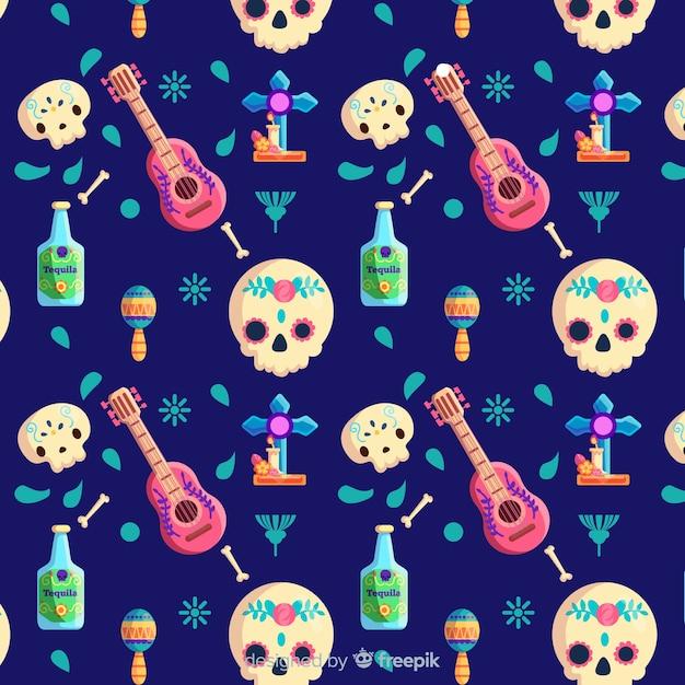 Crânios de dia de muertos plana e padrão de ukulele Vetor grátis