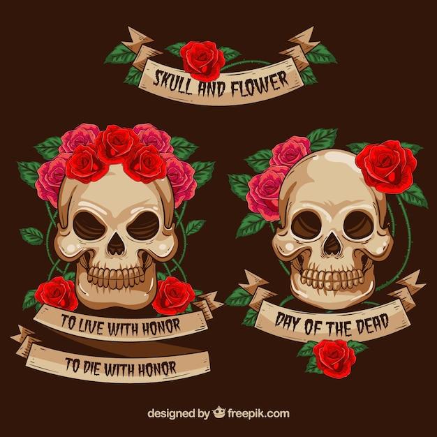 Crânios decorativos com flores e fitas Vetor grátis