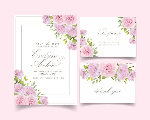 Cravos rosa floral de convite de casamento Vetor Premium